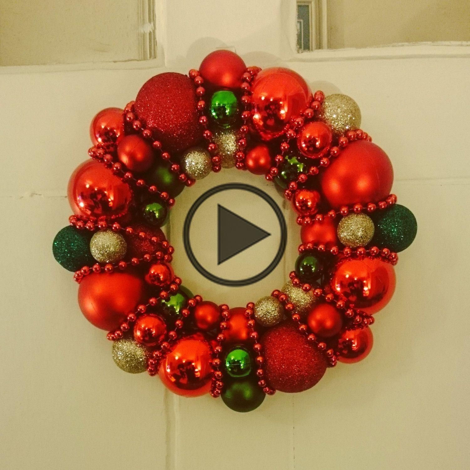 Red, Gold and Green Christmas Bauble Wreath Decoration by DianaEvansArtist on Etsy #baublewreath