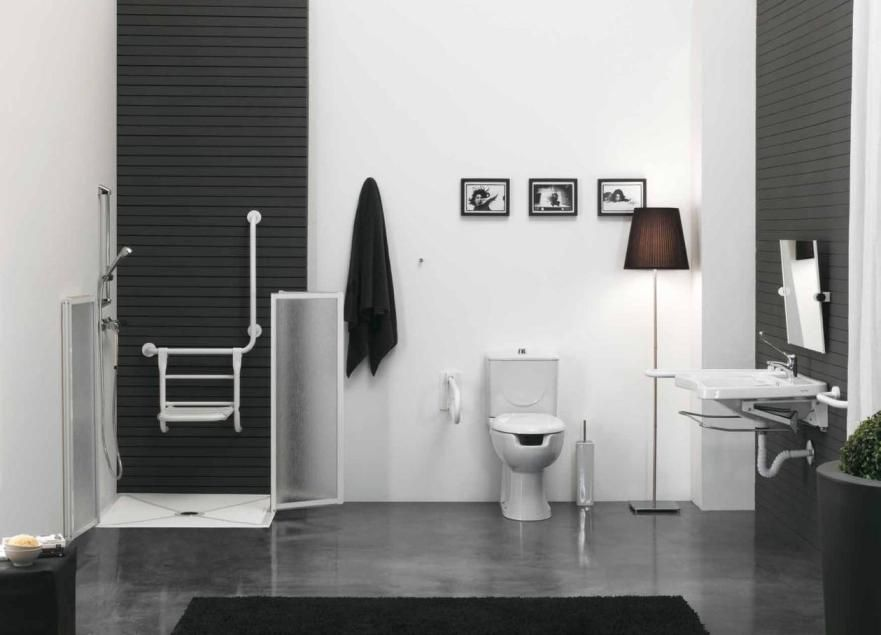 Black And White Bathroom Design For Disabled Ausil Line Series Picture Listed In Wet Room
