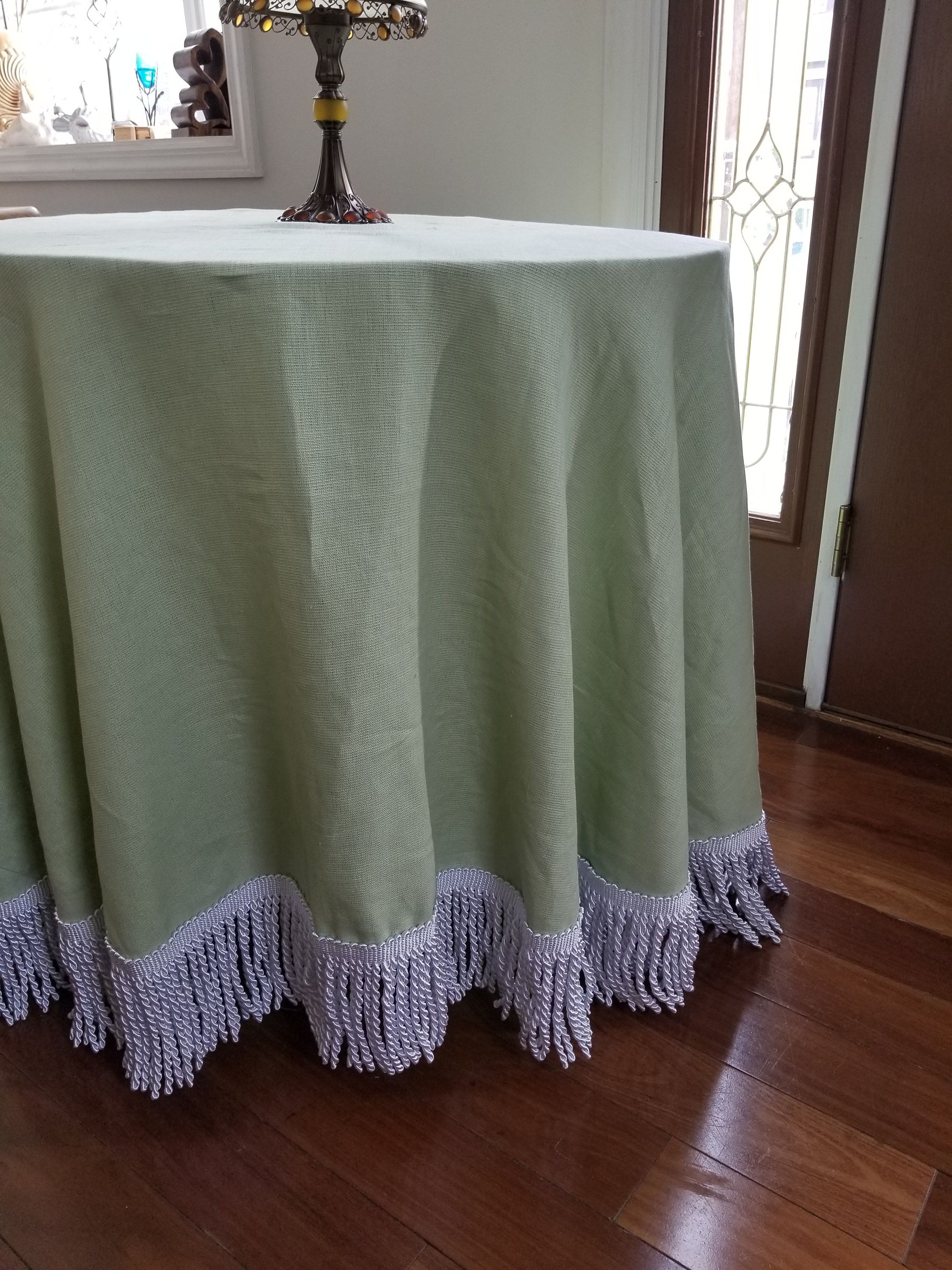 Round Oatmeal Linen Tablecloth With Bullion Fringe 60 Diameter