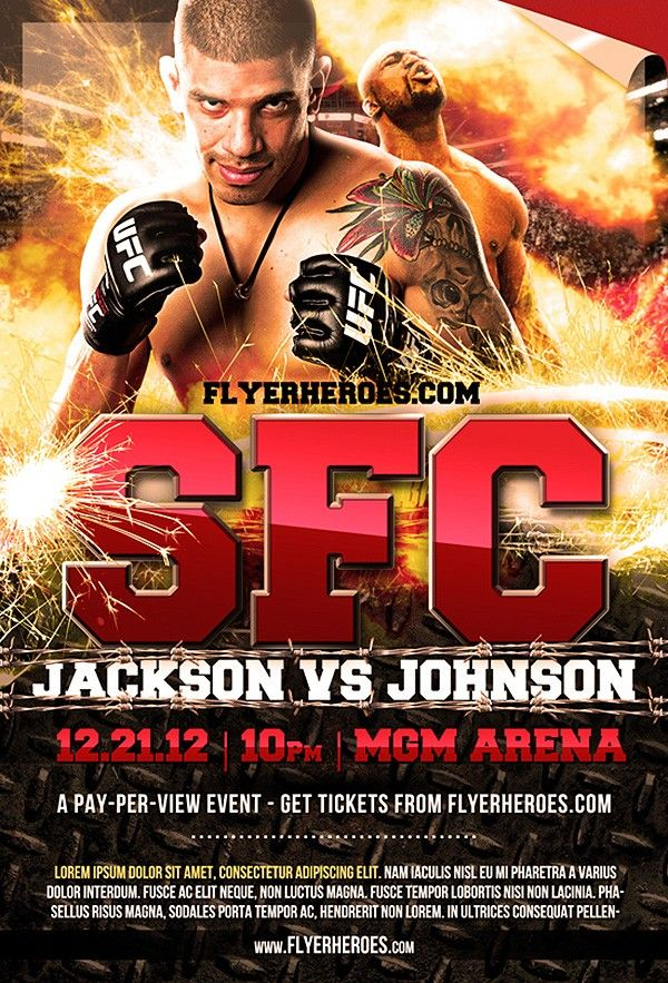 Free Mma Fight Night Flyer Template  Free Flyer Template