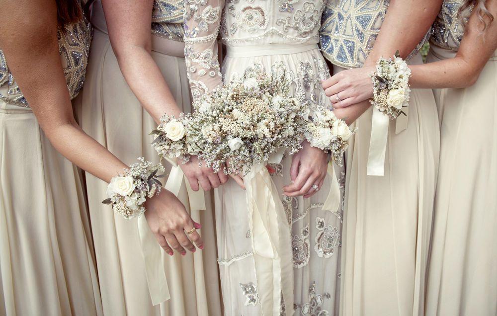 Needle & Thread Wedding Dress | Bridesmaid corsage and Wedding venues
