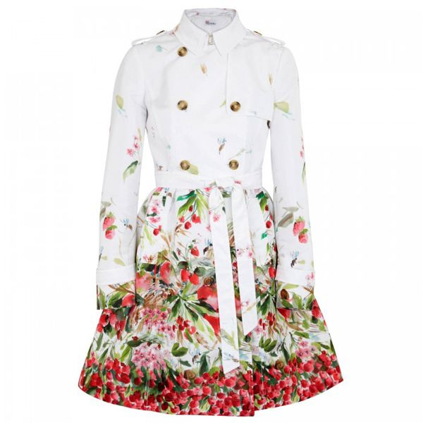 RED Valentino Floral Print Satin Twill Trench #trenchcoat #springcoat