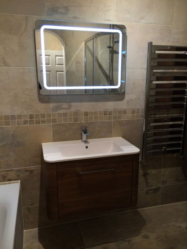 Wall Hung Basin With Mirror Installation In Leeds By Uk Bathroom