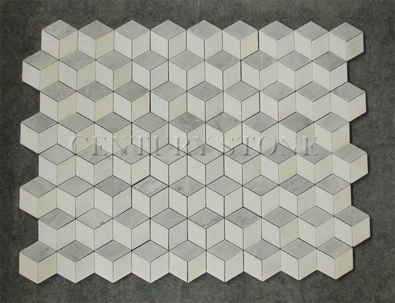 New Design 3d Carrara Mix Thassos White Mix Dan Marble Hexagon Mosaic Tile White Marble Tile Floor 3d Floor Art White Marble Floor