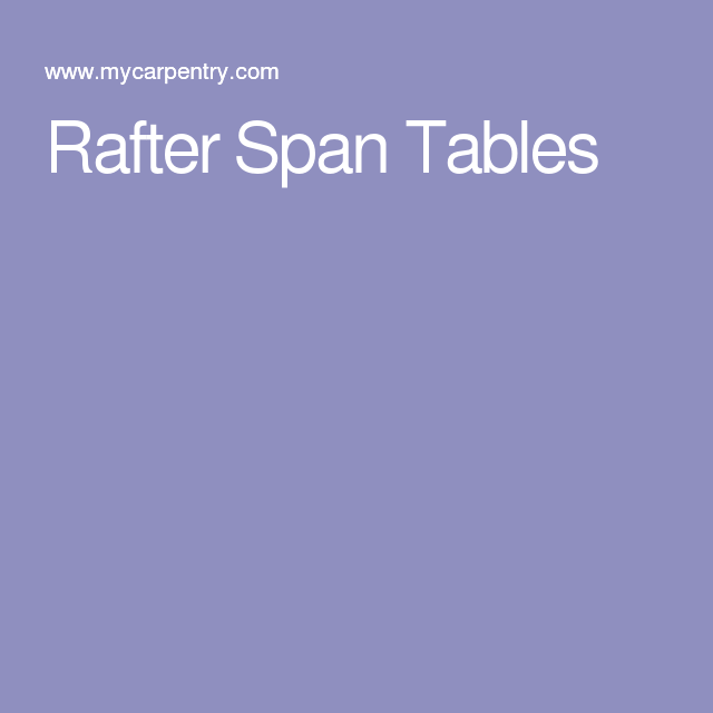 Rafter Span Tables Rafter Span Table