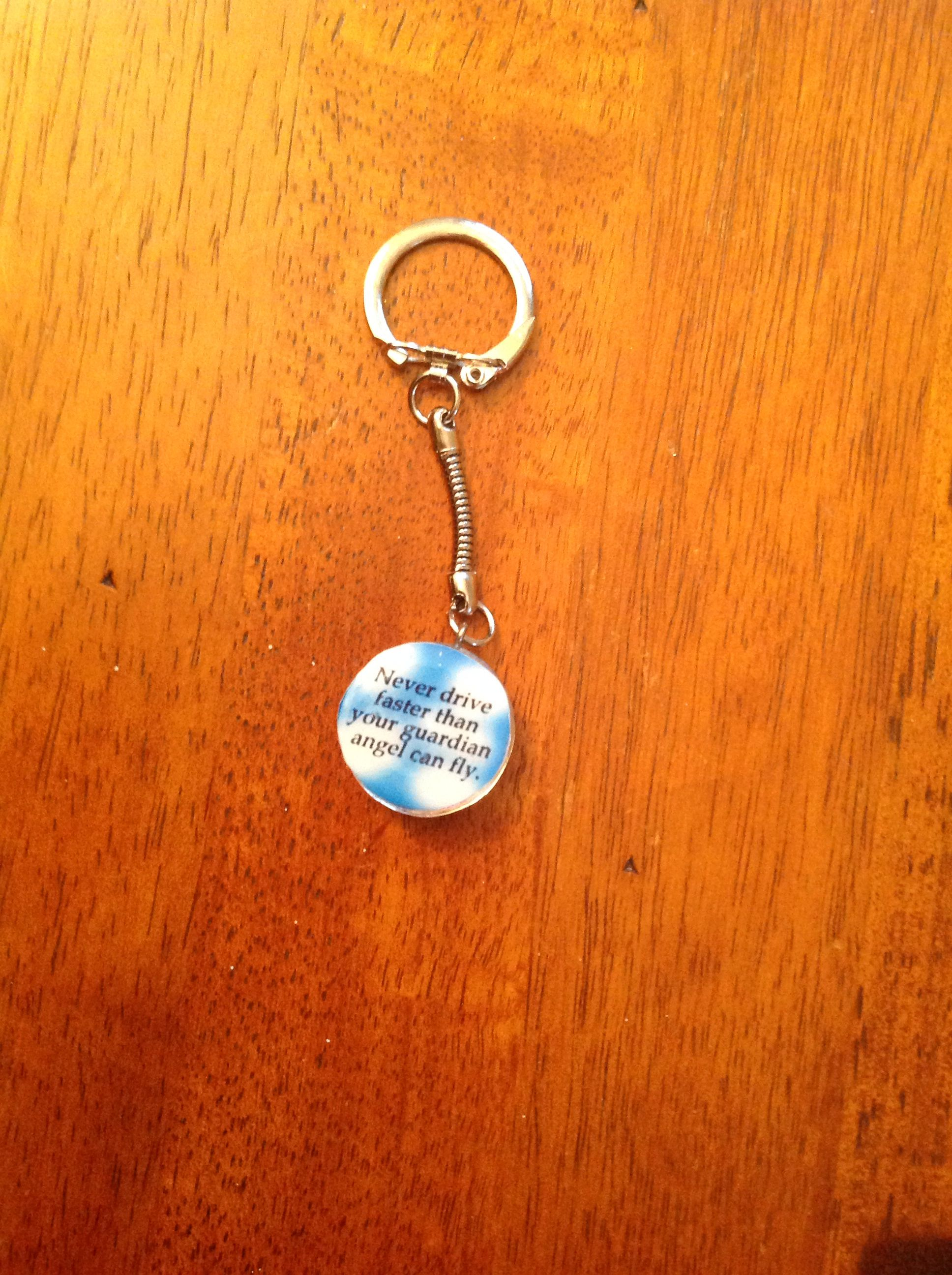 Keychain with poem on photo paper & modge podge lacquered