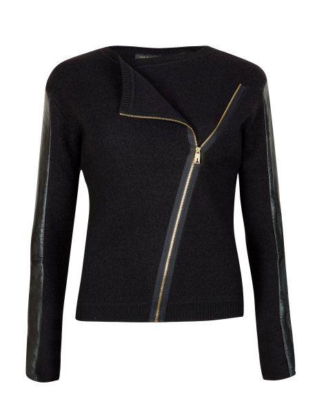 Leather sleeve biker jacket - Black | Knitwear | Ted Baker