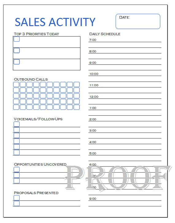Salesperson Daily Activity Log  Blank Calendars