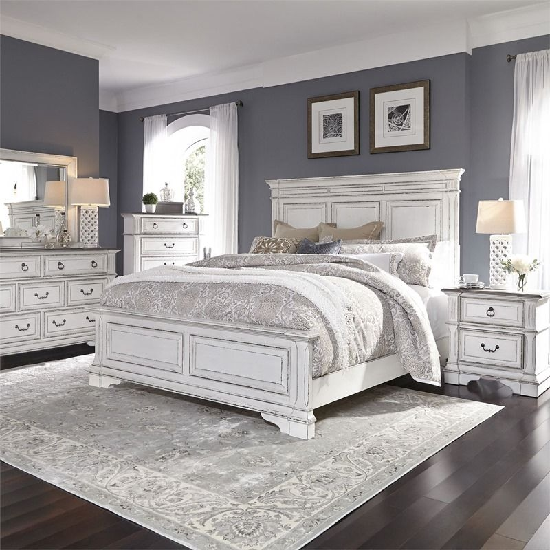 Abbey Park distressed white farmhouse style bedroom set