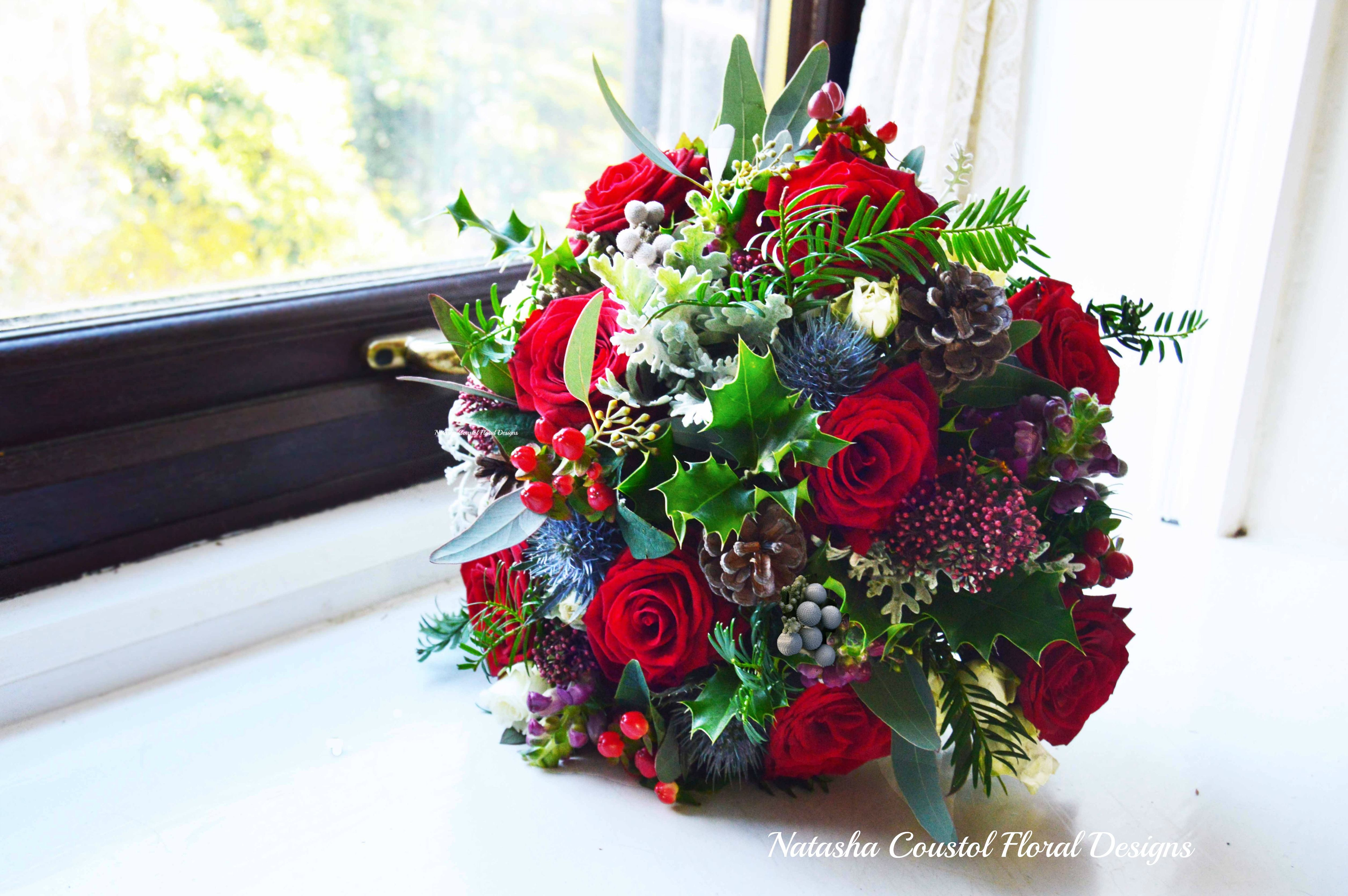 Christmassy Red Claret And Navy Blue Wedding Flowers The Bouquets