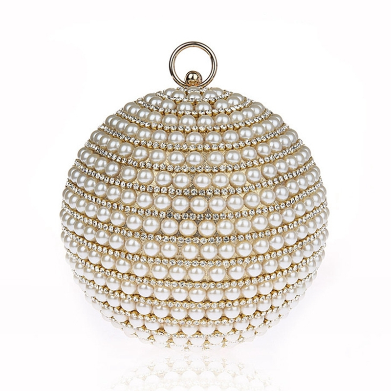 33.17$  Know more - http://aitrr.worlditems.win/all/product.php?id=32681819782 - 2017 Women Pearl Ball Beaded Evening Bags Designer Luxury Purse Handbags Wedding Clutches Wallets Diamond Elegent Party Clutch