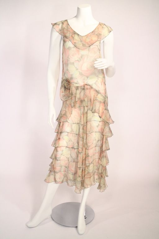 1920's Floral Flapper Dress   From a collection of rare vintage day dresses at https://www.1stdibs.com/fashion/clothing/day-dresses/