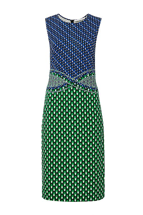 DVF Evita Fitted Silk Jersey Dress in Dots Green/ Diagonal Dots