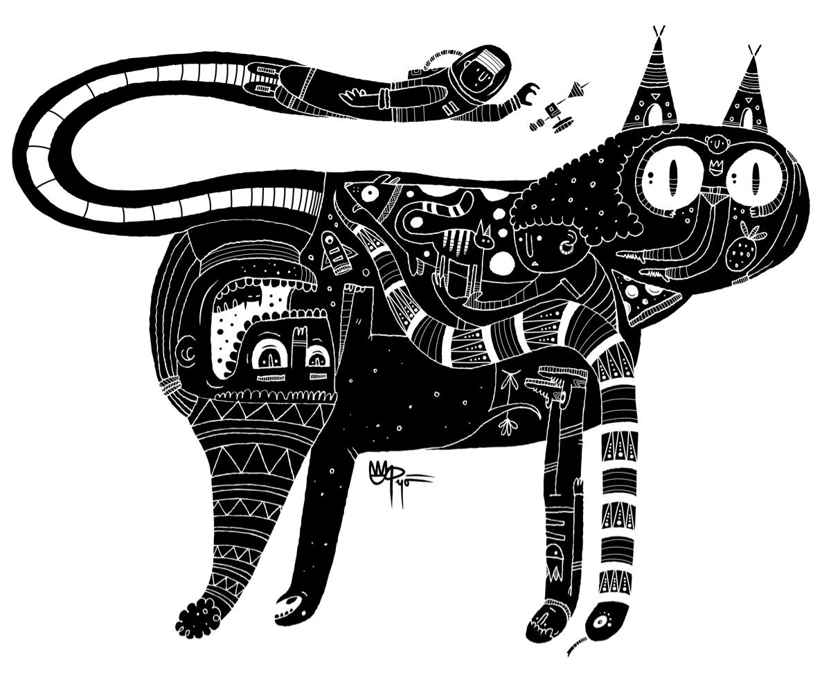 Kat.  #illustration #graphicdesign #bnw #blackandwhite #brooklyn #nyc #tokyo #cat #astronaut #pizza #dinosaur #snake