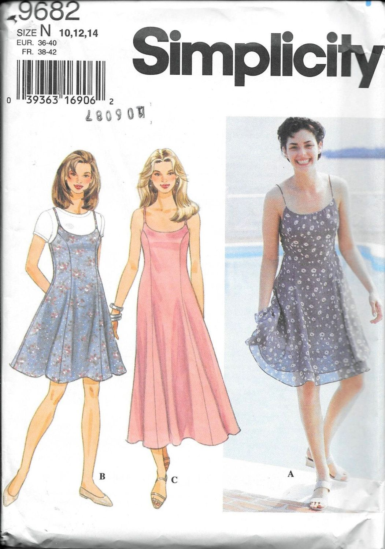 Simplicity 9682 Sleeveless Spaghetti Strap Dress Slip Sun Dress Jumper Slip Sewing  Pattern Size 10 8d8b9c098