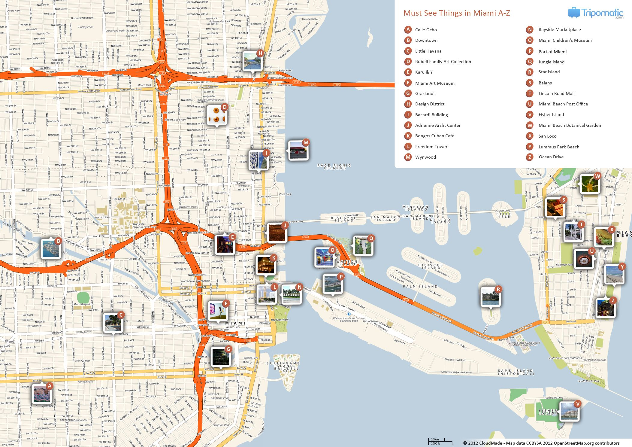 miami printable tourist map | miami attractions, tourist map