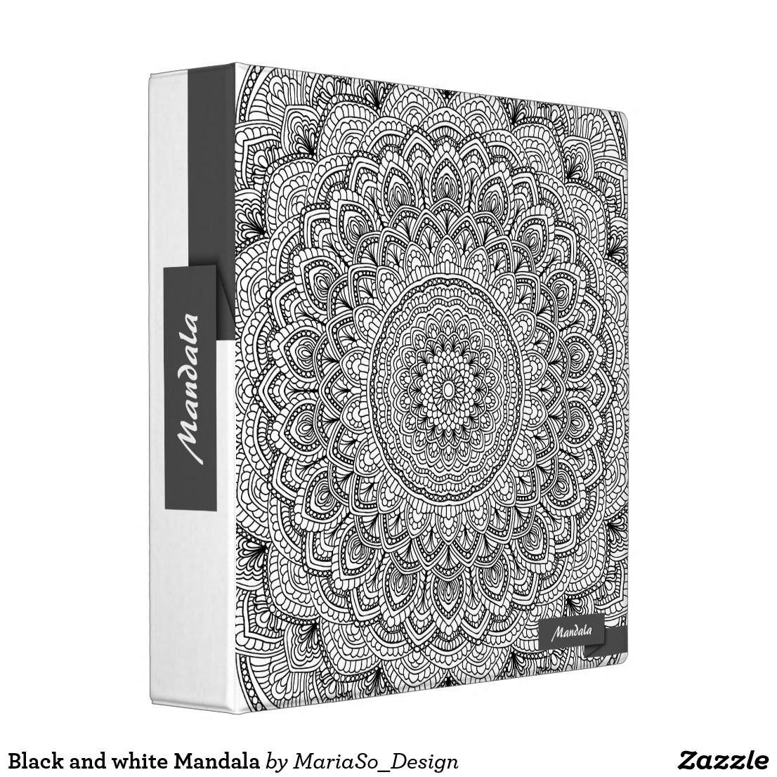 Black and white Mandala 3 Ring Binder