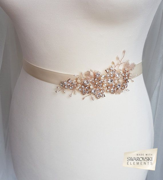 Rose gold belt, Swarovski sash, bridal belt, rose gold sash ...