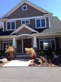 Rugged Canyon Siding By Mastic White Trim Dark Wood Door