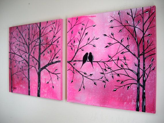 Large love birds in tree acrylic painting contemporary canvas art over the couch bed diptych modern romance silhouette 20x40 jmichael pinterest