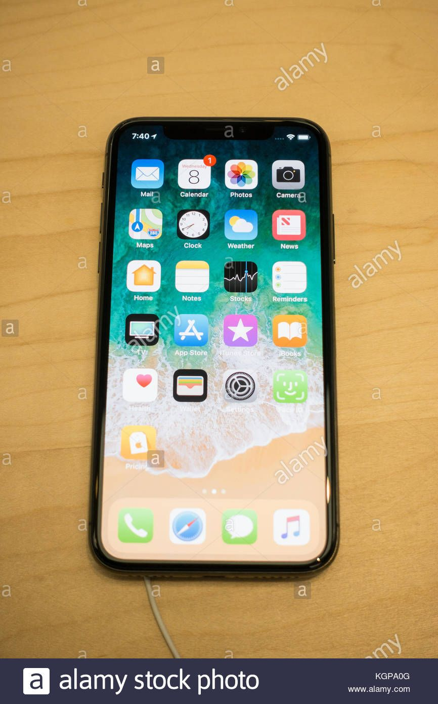 home screen showing icon on a new iphone x ios 11 stock