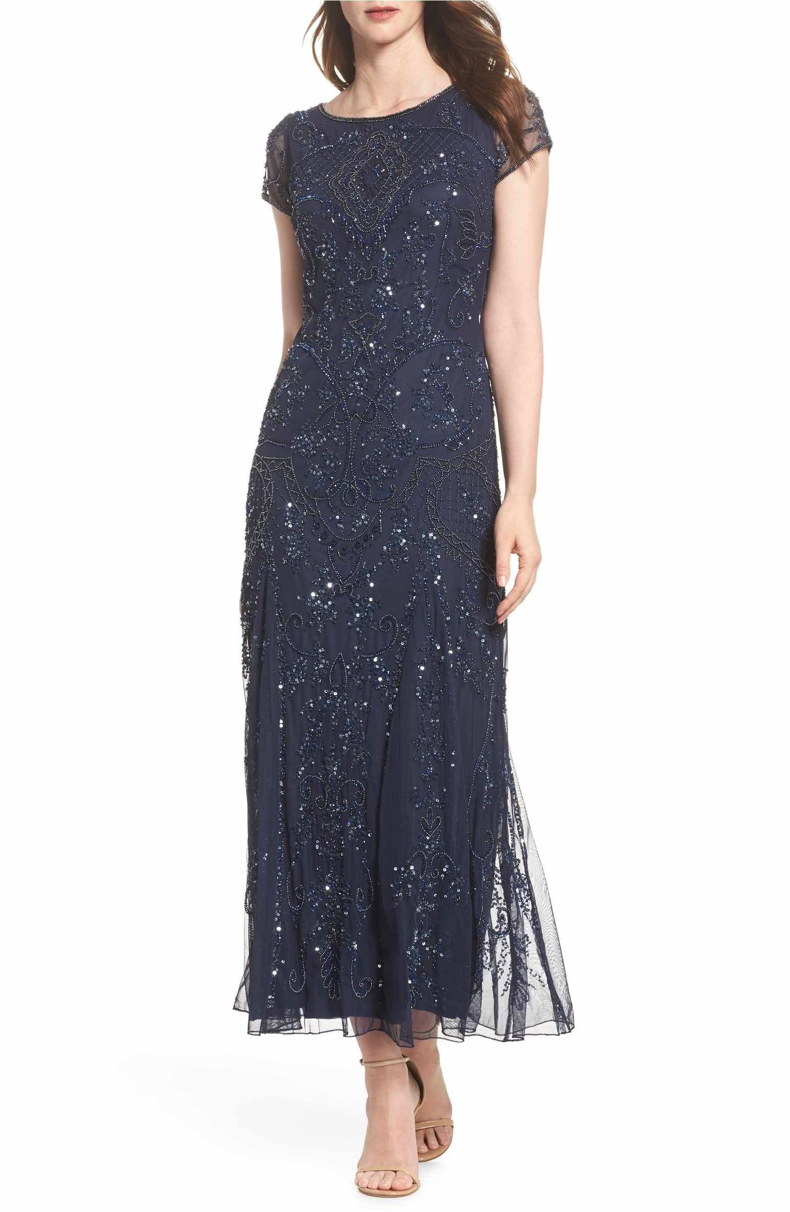 Embellished mesh gown petite and gowns