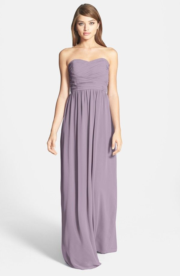 Donna Morgan 'Stephanie' Strapless Ruched Chiffon Gown