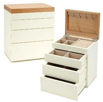 Seya TwoTone Modern Jewelry Box Organizer with Drawers Cream