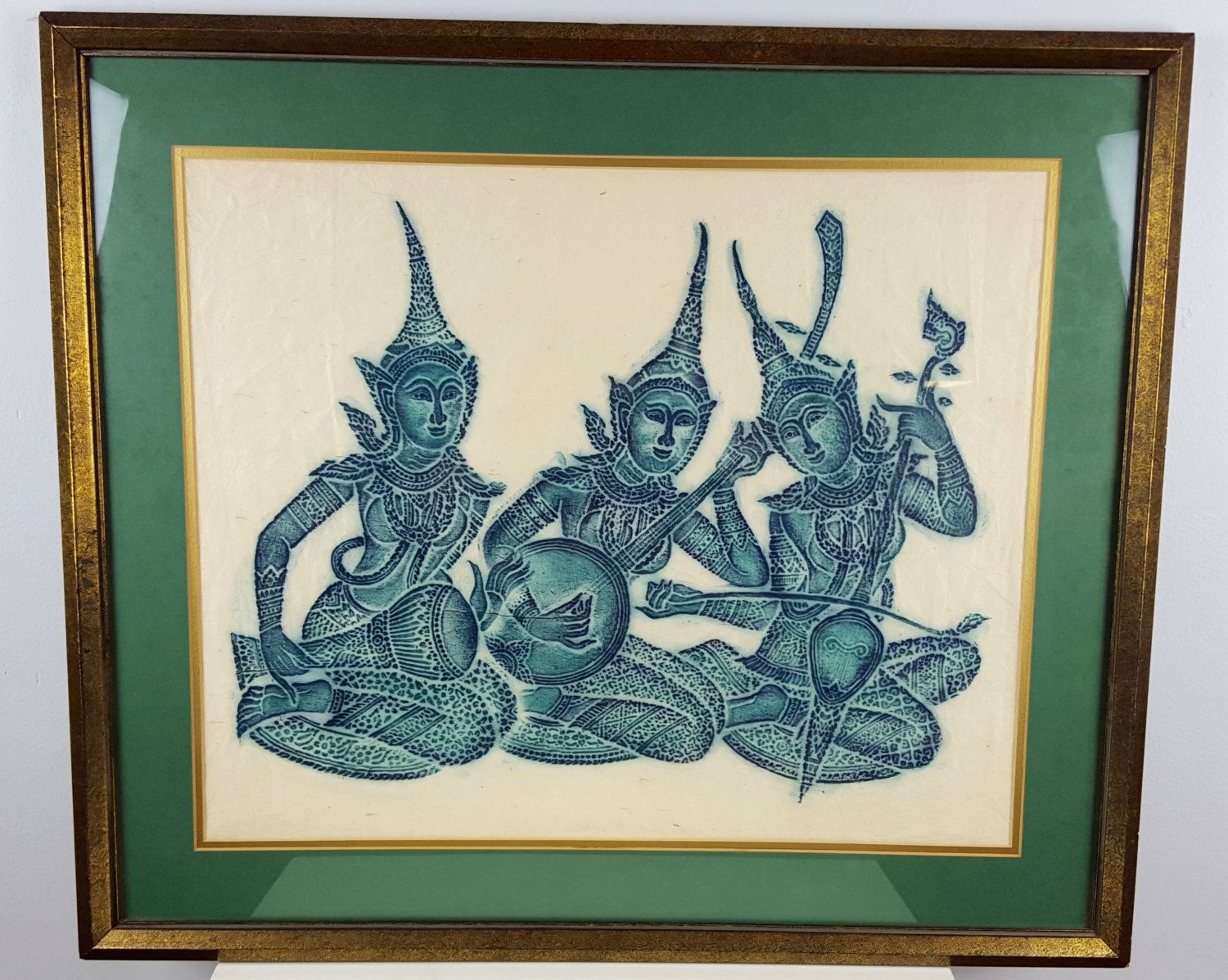 Vintage Framed Thai Temple Rubbing on Rice Paper, Buddhist Art ...