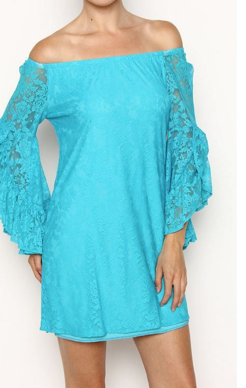 68f8c7ea124a Turquoise Lace Off Shoulder Dress – Classy Cowgirl Co.
