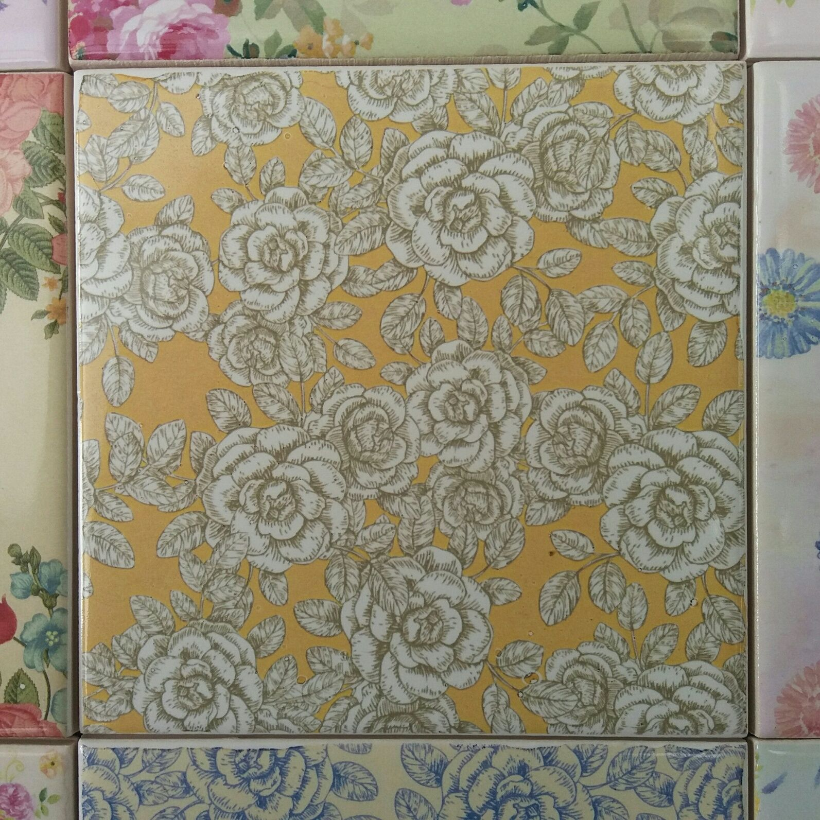Vintage style yellow and white roses patterned ceramic wall tile vintage style yellow and white roses patterned ceramic wall tile by floral tiles use several dailygadgetfo Image collections