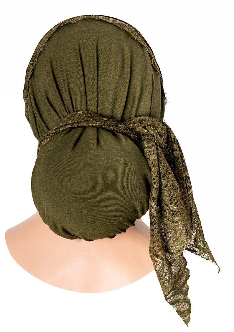 Olive Green Head Scarf Boho Chic Pre Tied Bandana Tichel Hair Etsy Women Hats Fashion Chemo Head Scarf Hair Snood