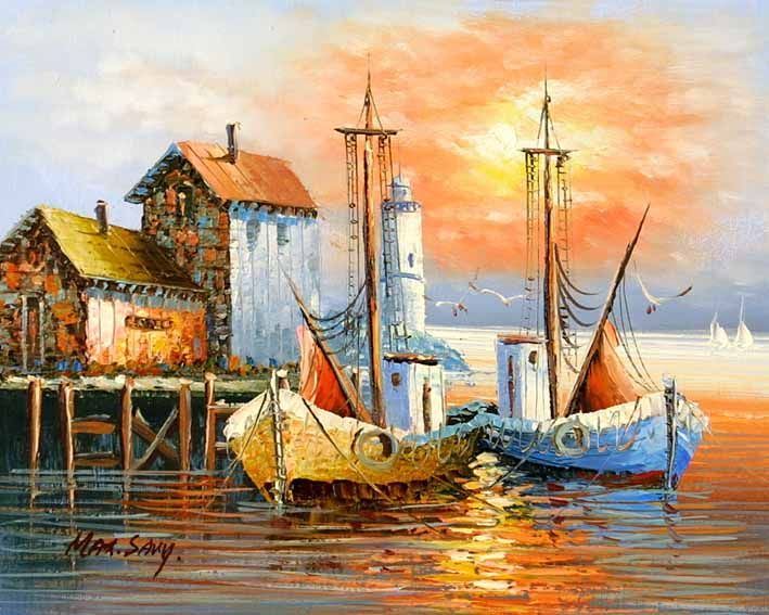 paintings of boats in harbor