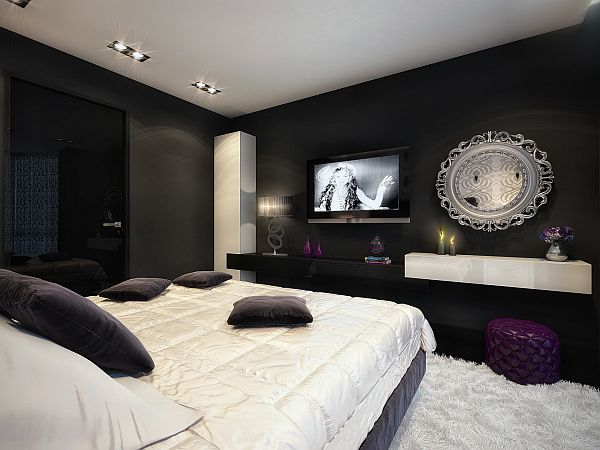 Black White Glamorous Bedroom Shag Rug Purple Ottoman Black