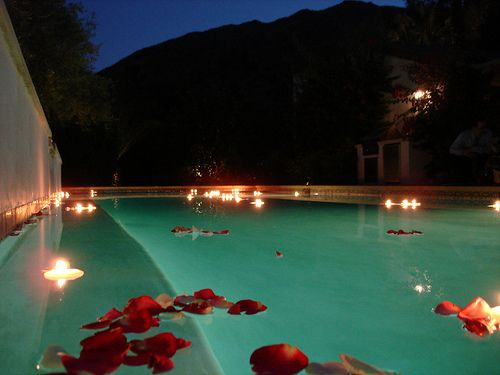 Pin By Marykate Maier On Wedding Ideas Pinterest Rose Petals Floating Candles And Pool