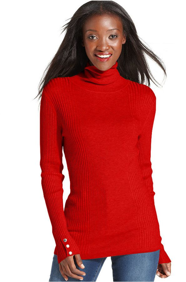 Style&co. Long-Sleeve Ribbed-Knit Turtleneck Sweater