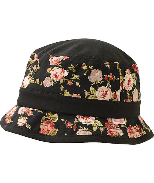 99fe4a38991 The Primitive Roses black and rose print bucket hat has tons of street  style whether you