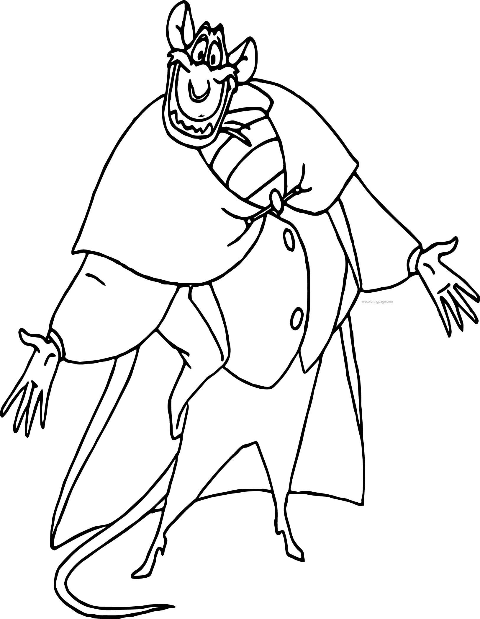 The Great Mouse Detective Ratigan Cartoon Coloring Pages Cartoon