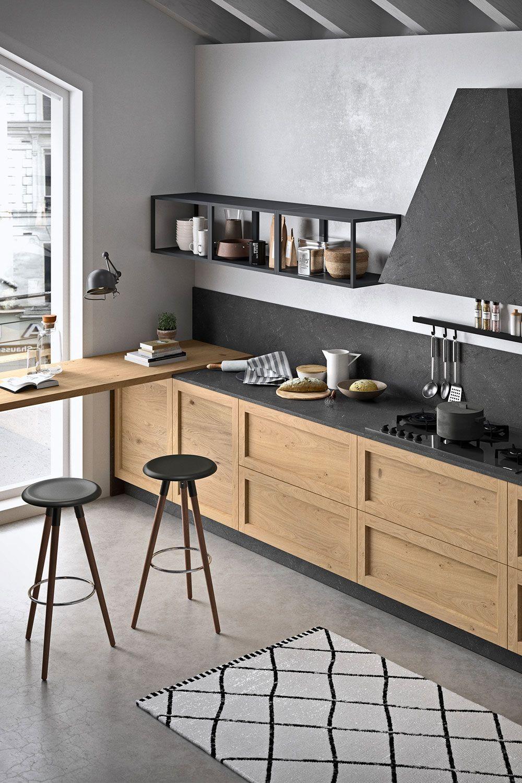 Cucina Su Misura Rovere E Nera Arredo Interni Cucina Misure Cucina Arredamento Moderno Cucina
