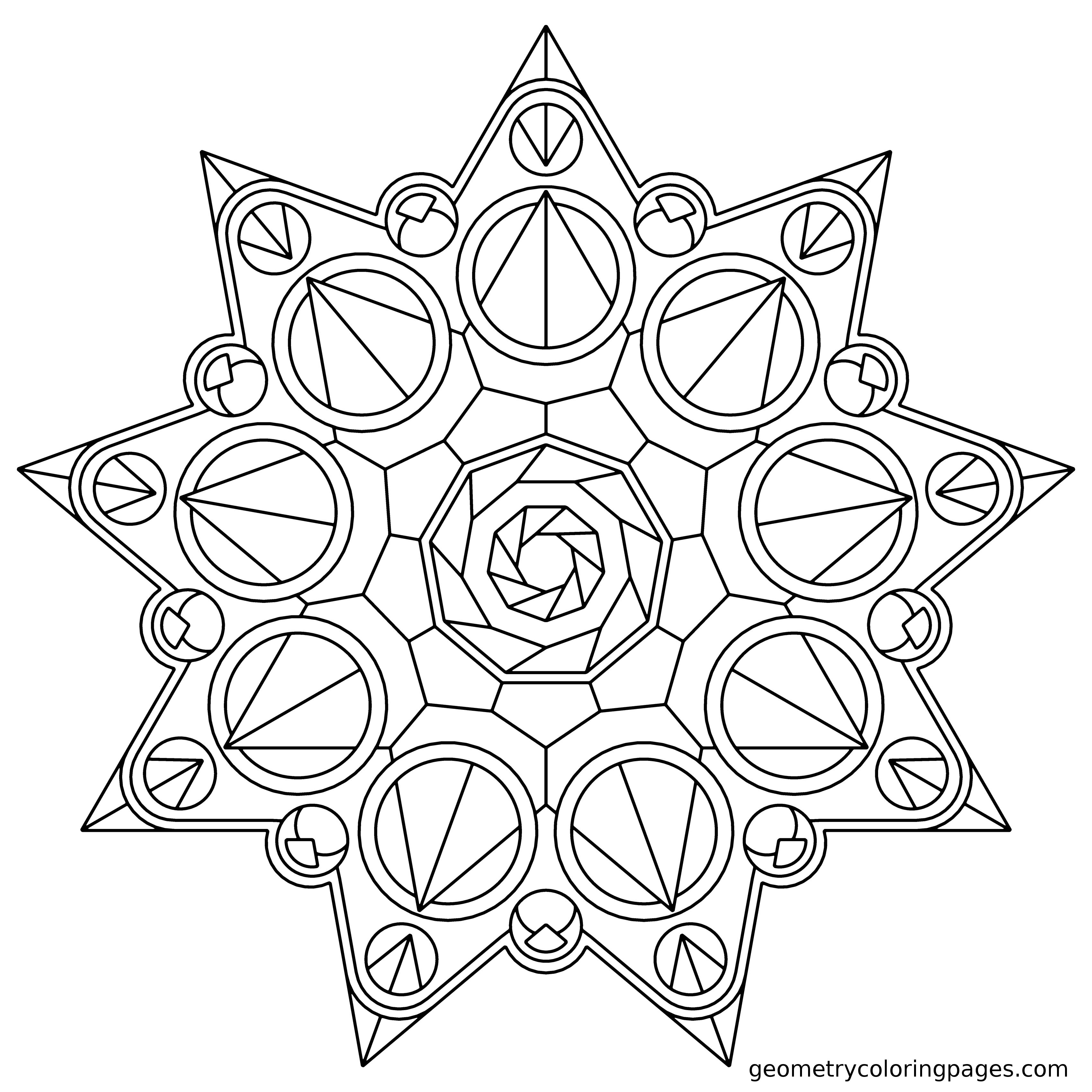 Crown Star Geometry Coloring Pages Geometric Coloring Pages Pattern Coloring Pages Mandala Coloring