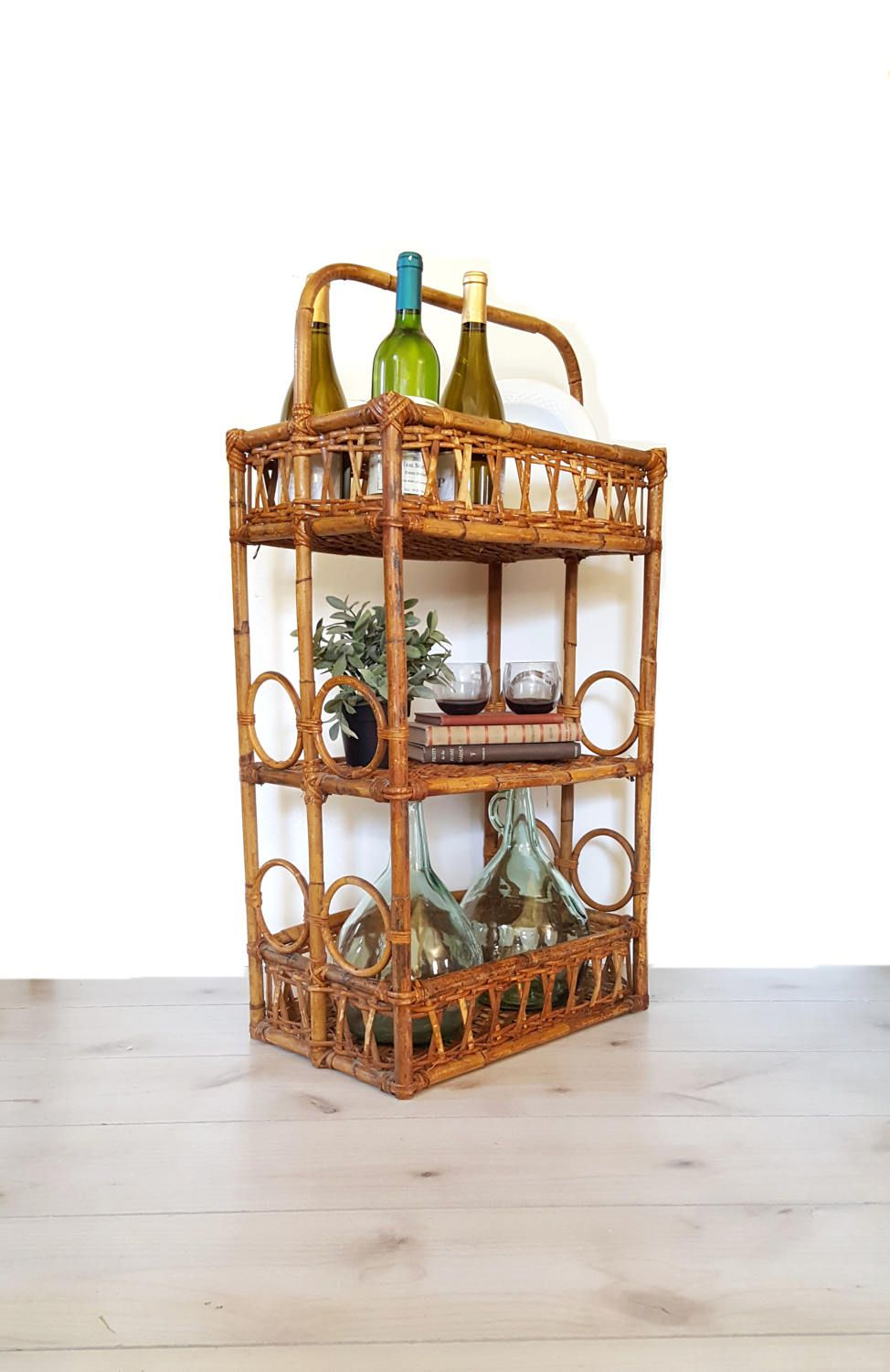 Rattan Mini Bar Cart Serving Stand Vintage Wicker Wine Holder Boho Home Decor By Luckyhomefinds On Etsy