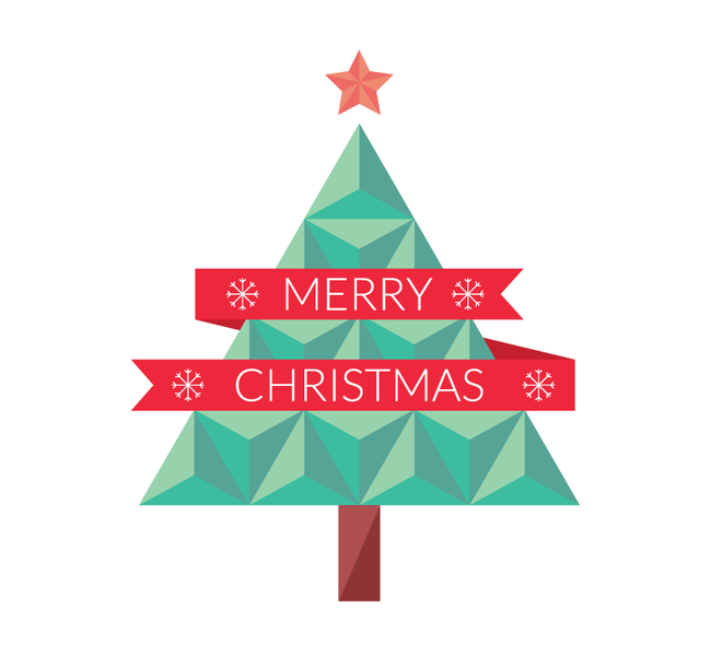 Merry Christmas Flat Geometric Christmas Tree Vector Eps Format Christmas Tree Cards Tree Cards Christmas