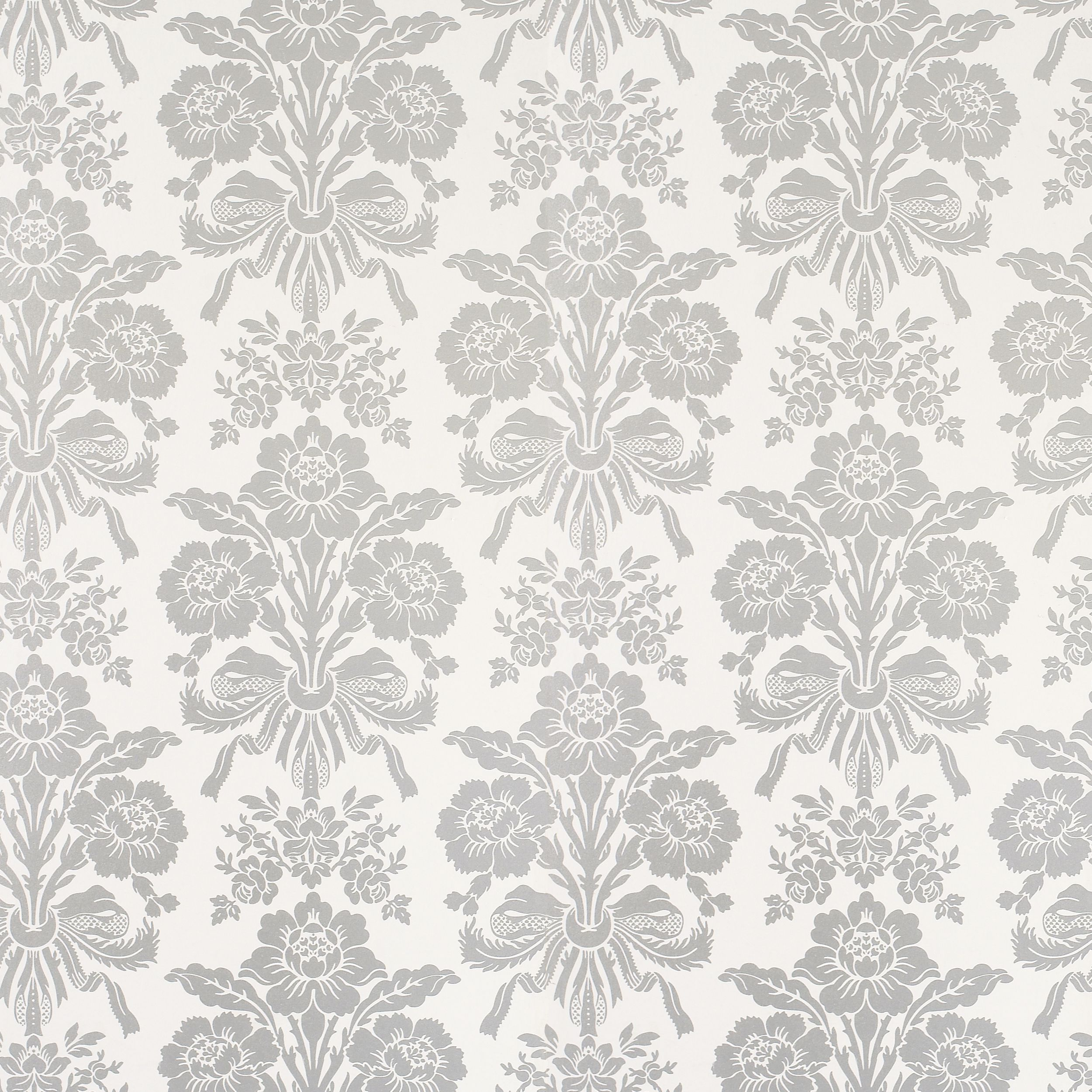 Tatton Silver Damask Wallpaper at LAURA ASHLEY Paper