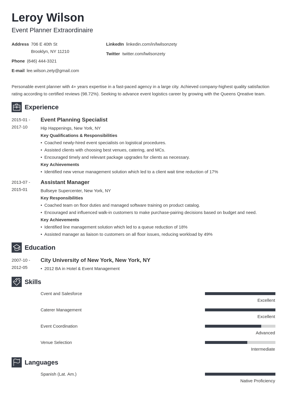 event planner resume example template newcast  event