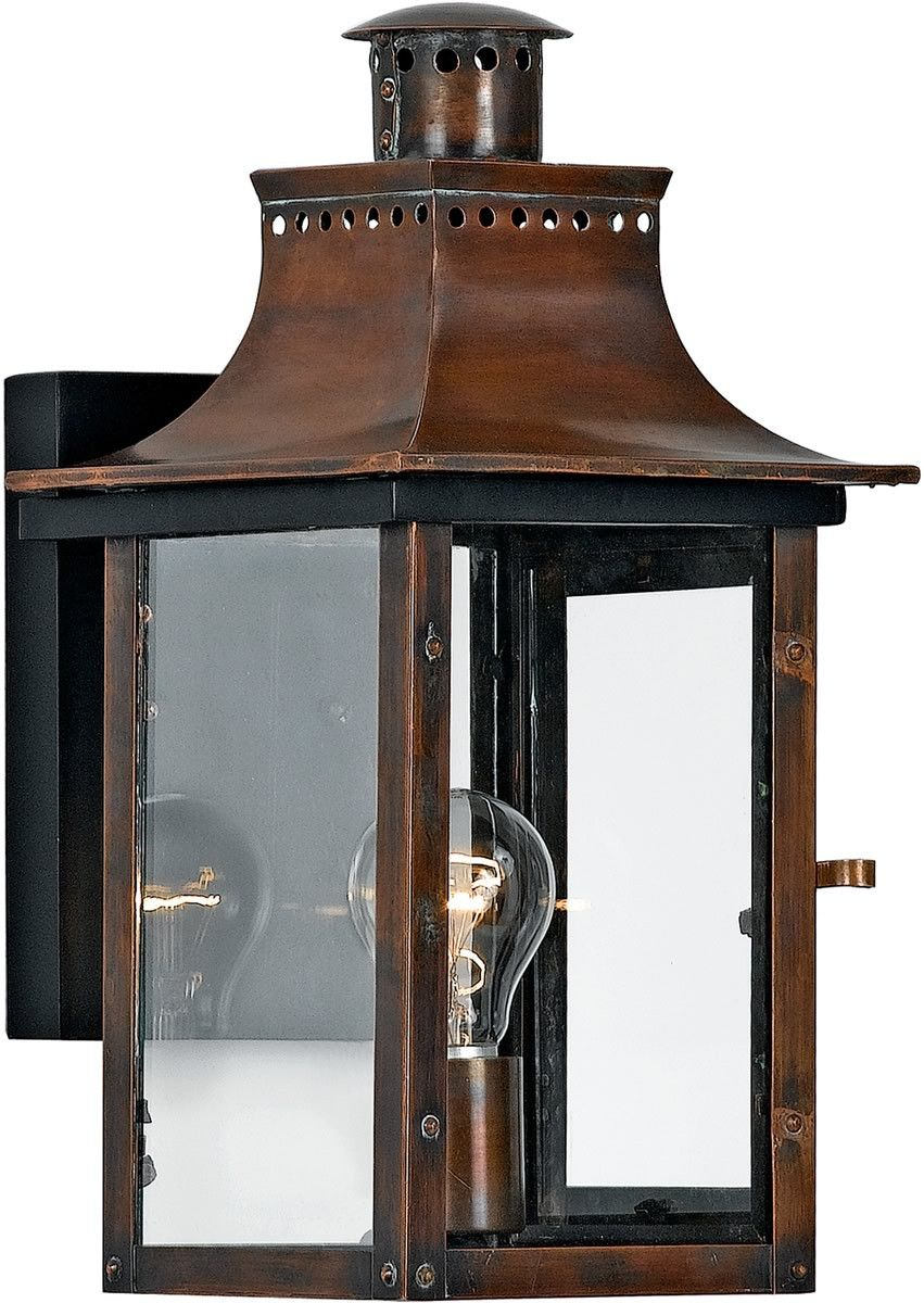 0 010754 Chalmers 1 Light Outdoor Patinaed Solid Copper With Antique Highlights Outdoor Sconces Outdoor Light Fixtures Outdoor Walls