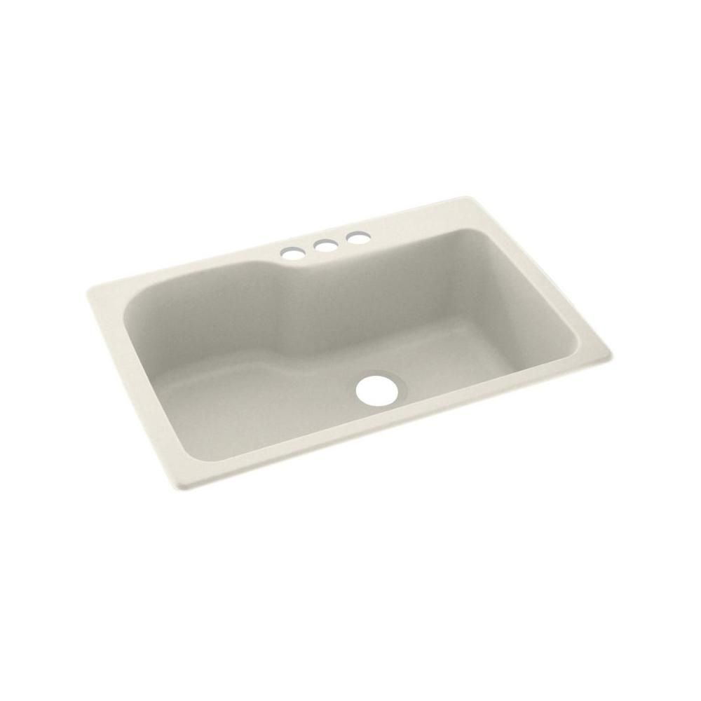 Swan Dual Mount Solid Surface 33 In X 22 In 3 Hole Single Bowl