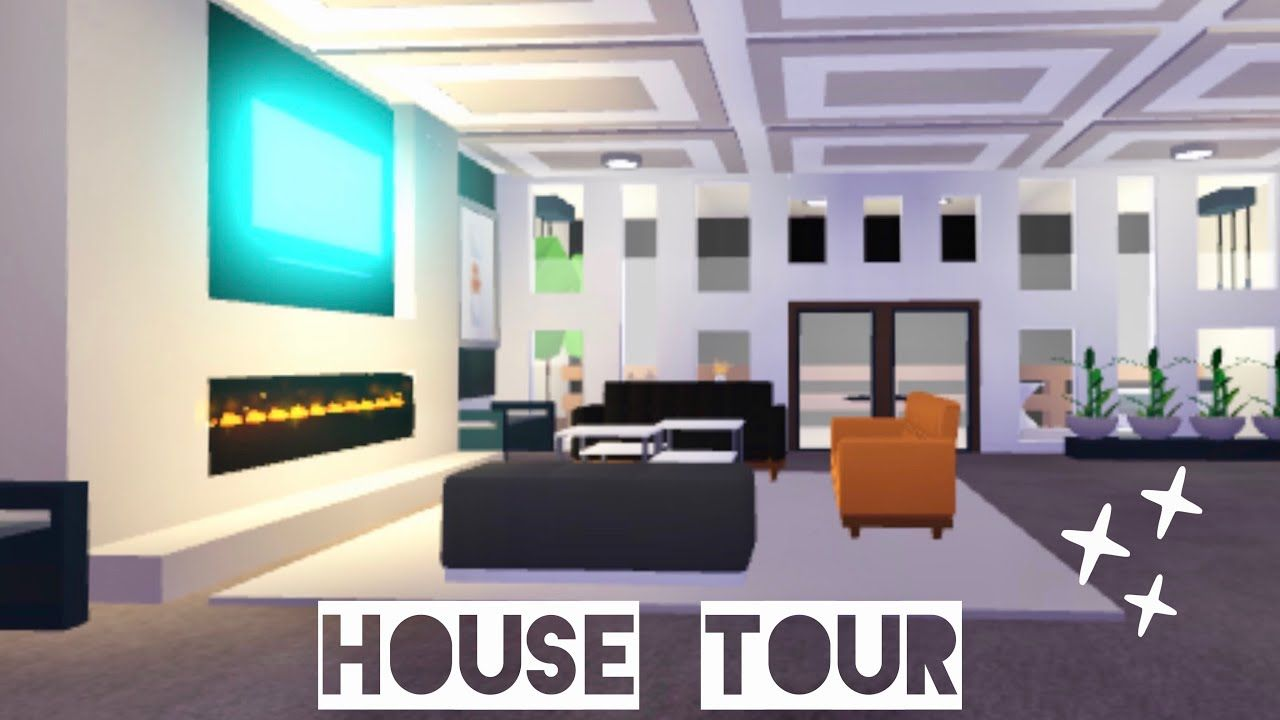 Modern Mansion House Tour My Curtain Hack Tutorial Adopt Me Roblox Youtube House With Balcony Modern Mansion My Home Design