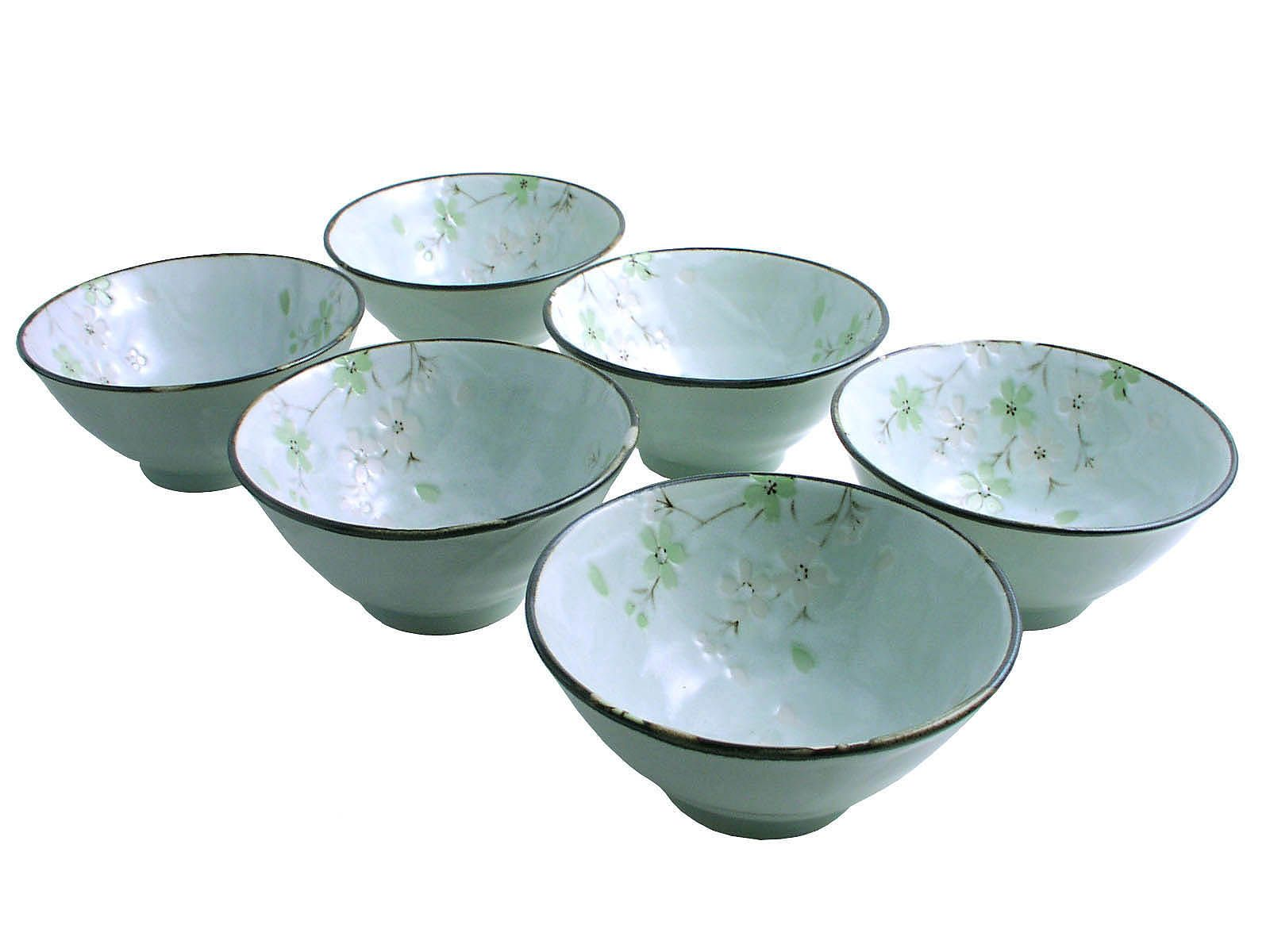 Green Cherry Blossom Small Rice/Soup Bowl Set