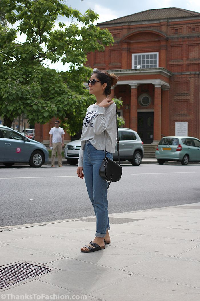#croptop #crop #momjeans #topshop #birkenstock #saddlebag #saddle #bag www.ThanksTofashion.com