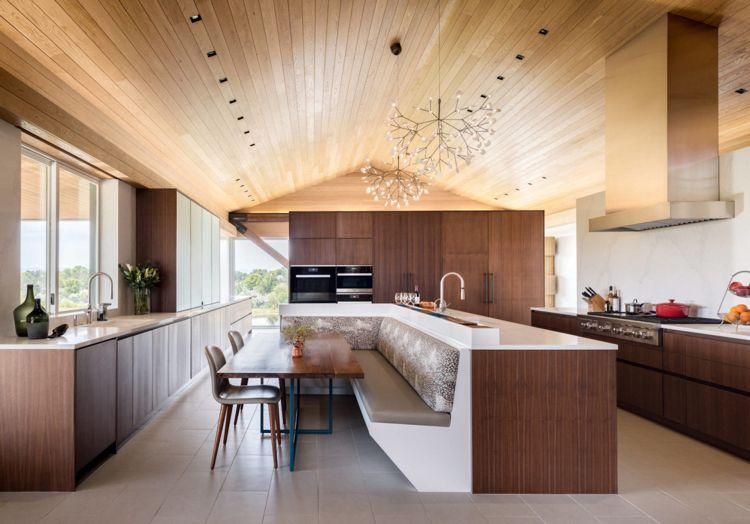 Deckenverkleidung Aus Holz Wand Moderne Holzkuche Sitzecke